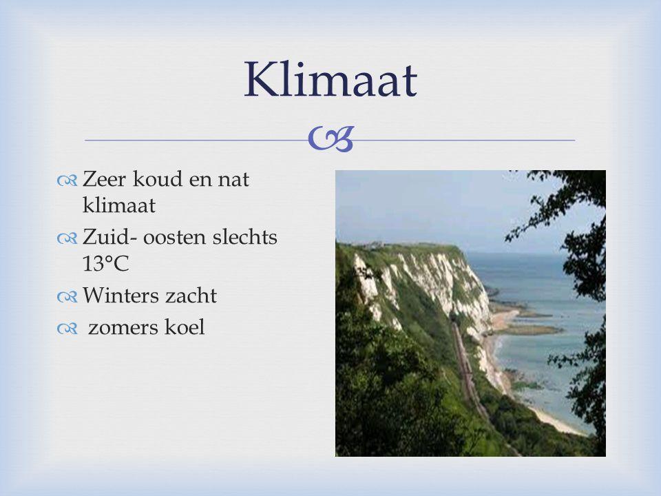 Klimaat Zeer koud en nat klimaat Zuid- oosten slechts 13°C