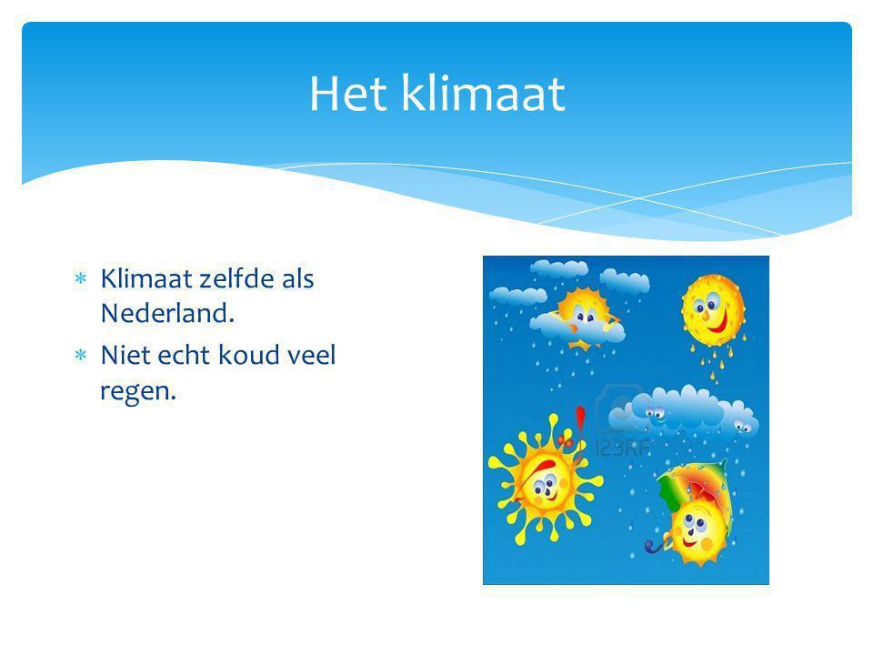 Het klimaat Klimaat zelfde als Nederland. Niet echt koud veel regen.
