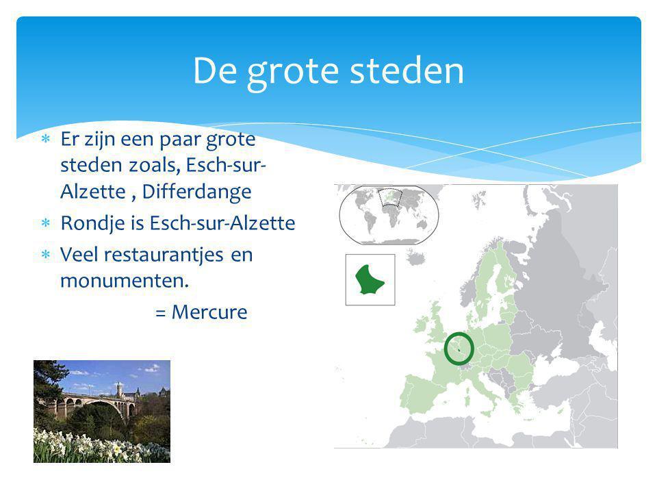 De grote steden Er zijn een paar grote steden zoals, Esch-sur-Alzette , Differdange. Rondje is Esch-sur-Alzette.
