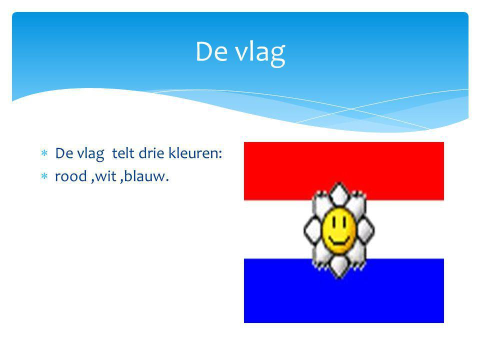 De vlag De vlag telt drie kleuren: rood ,wit ,blauw.