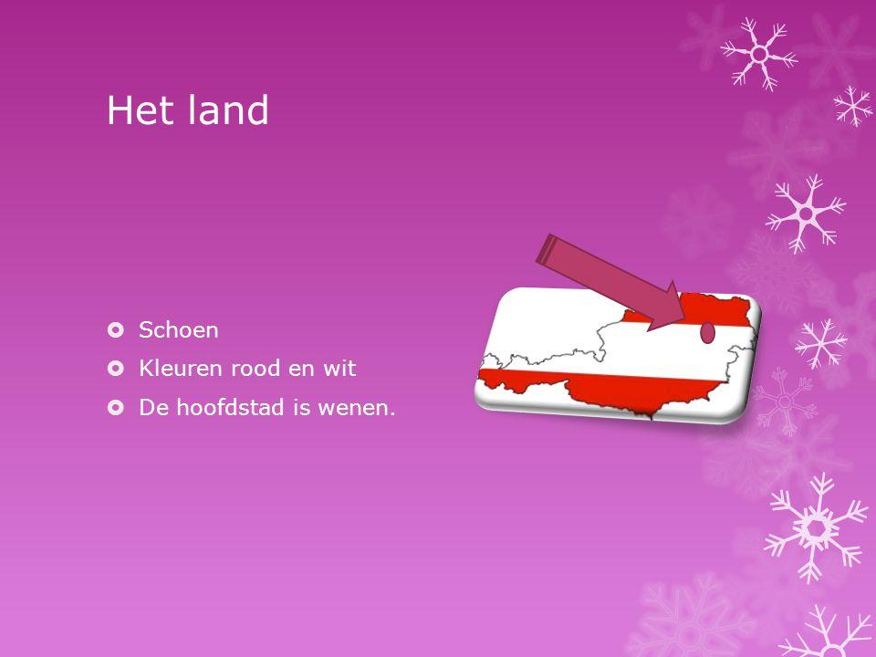 Het land Schoen Kleuren rood en wit De hoofdstad is wenen.