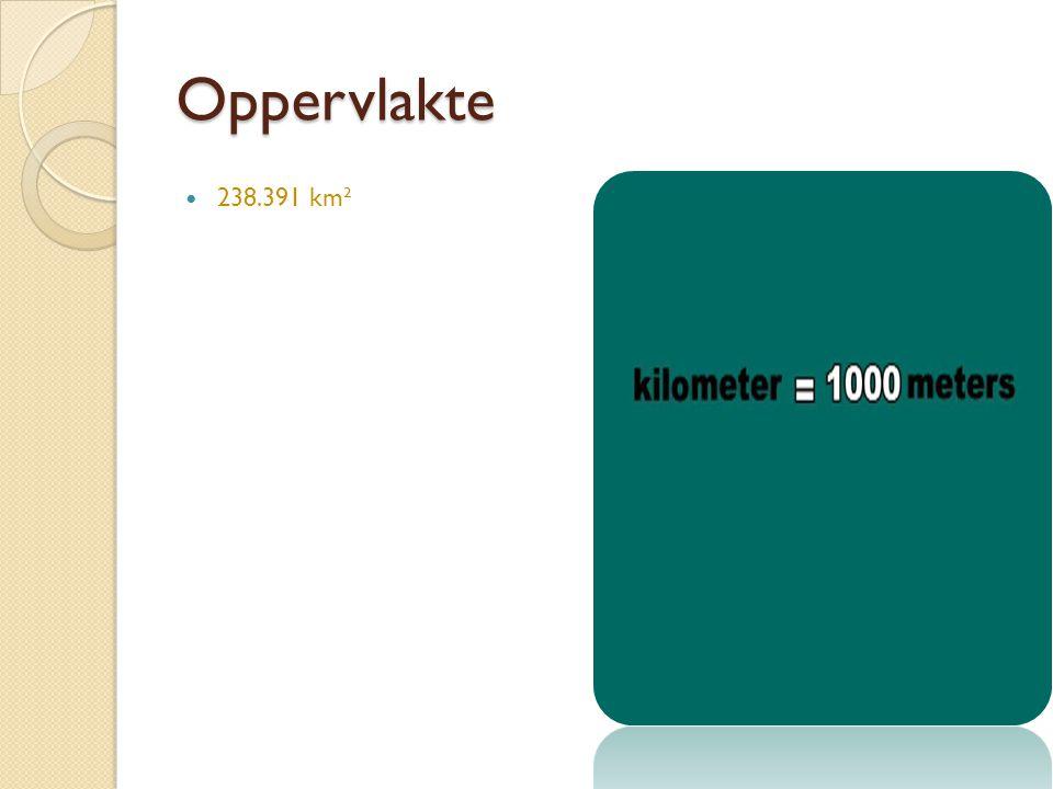 Oppervlakte 238.391 km² Het land is 238.391 km²