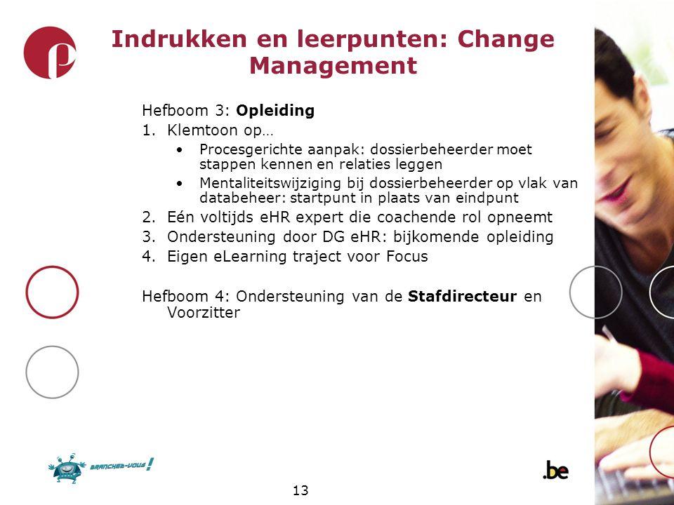 Indrukken en leerpunten: Change Management