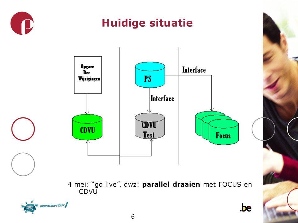 Huidige situatie 4 mei: go live , dwz: parallel draaien met FOCUS en CDVU