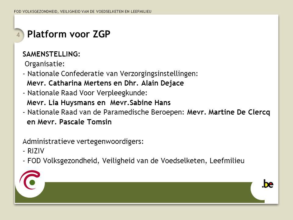 Platform voor ZGP SAMENSTELLING: Organisatie: