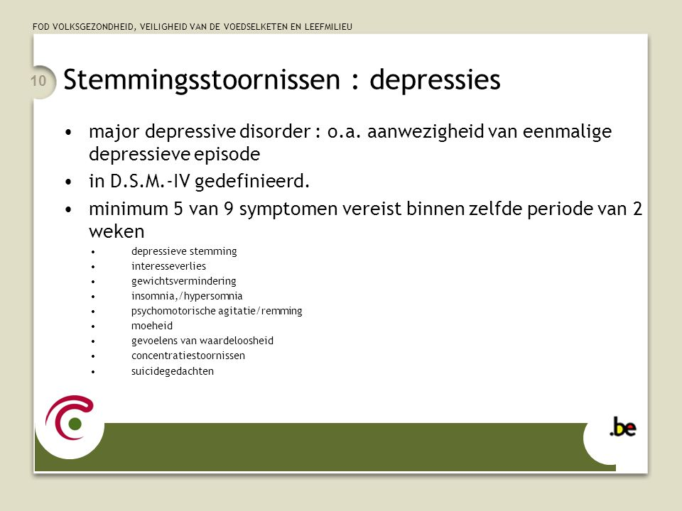 Stemmingsstoornissen : depressies