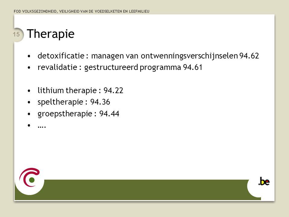 Therapie detoxificatie : managen van ontwenningsverschijnselen 94.62