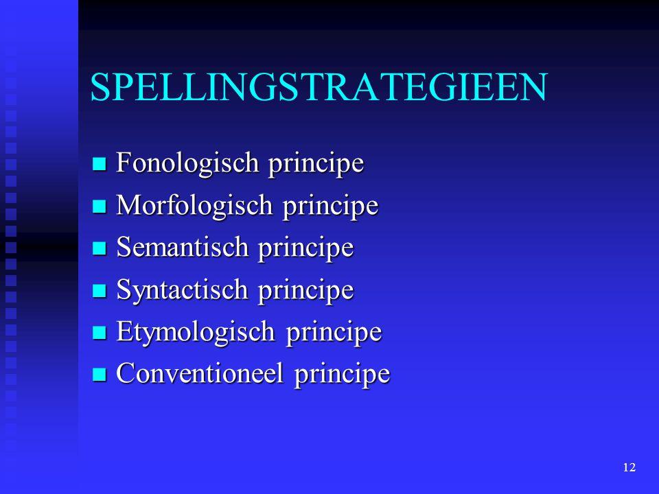 SPELLINGSTRATEGIEEN Fonologisch principe Morfologisch principe