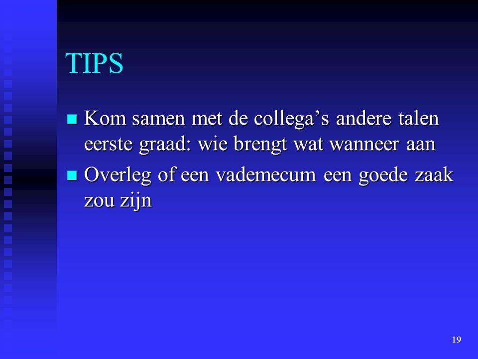 TIPS Kom samen met de collega's andere talen eerste graad: wie brengt wat wanneer aan.