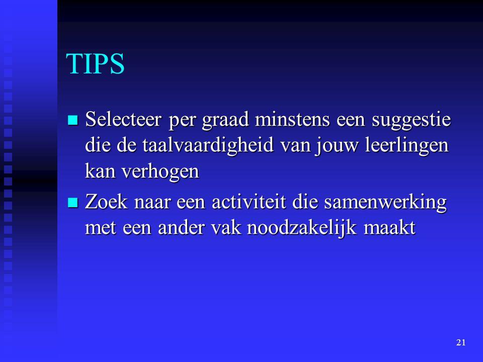 TIPS Selecteer per graad minstens een suggestie die de taalvaardigheid van jouw leerlingen kan verhogen.