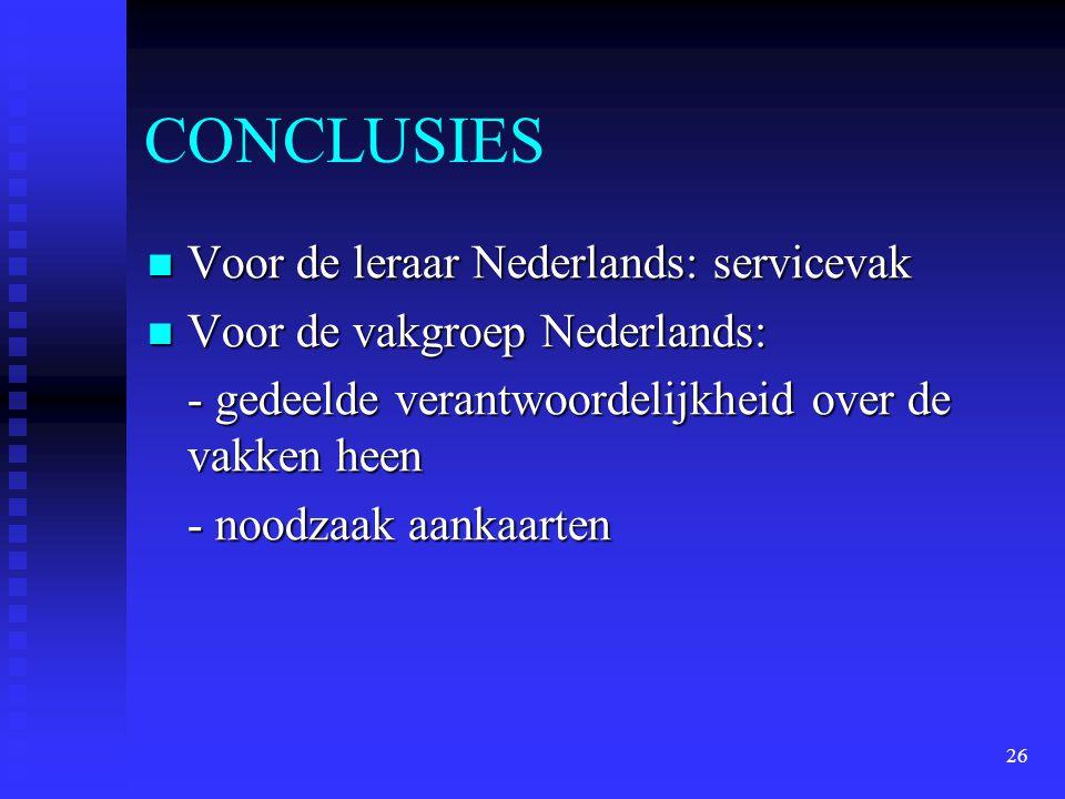 CONCLUSIES Voor de leraar Nederlands: servicevak