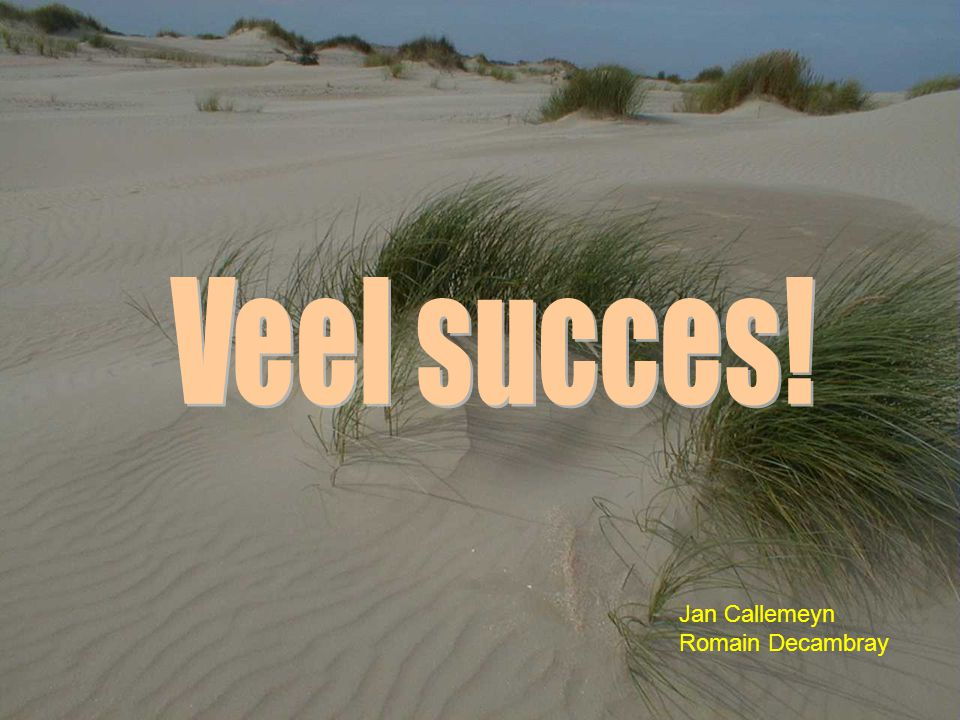 Veel succes! Jan Callemeyn Romain Decambray