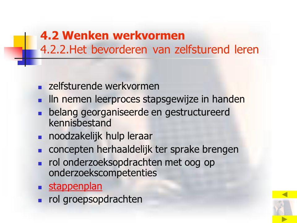 4.2 Wenken werkvormen 4.2.2.Het bevorderen van zelfsturend leren