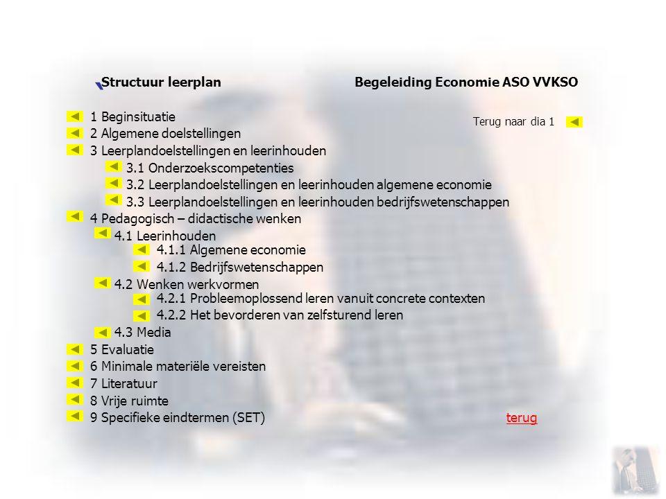 ` Structuur leerplan Begeleiding Economie ASO VVKSO 1 Beginsituatie