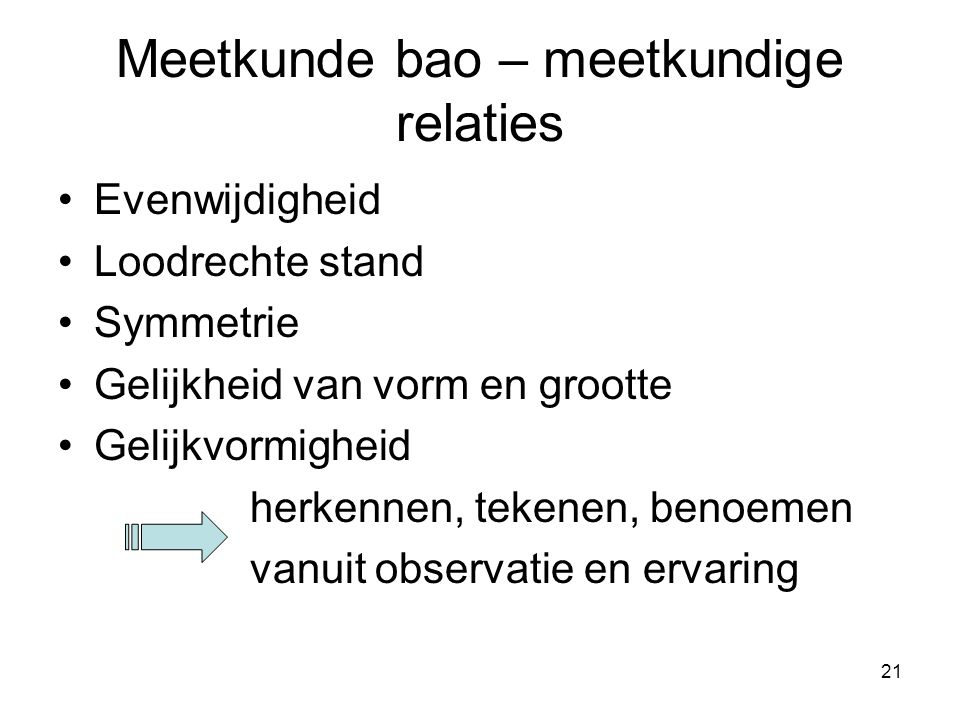 Meetkunde bao – meetkundige relaties