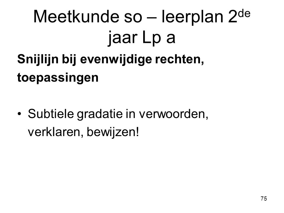 Meetkunde so – leerplan 2de jaar Lp a