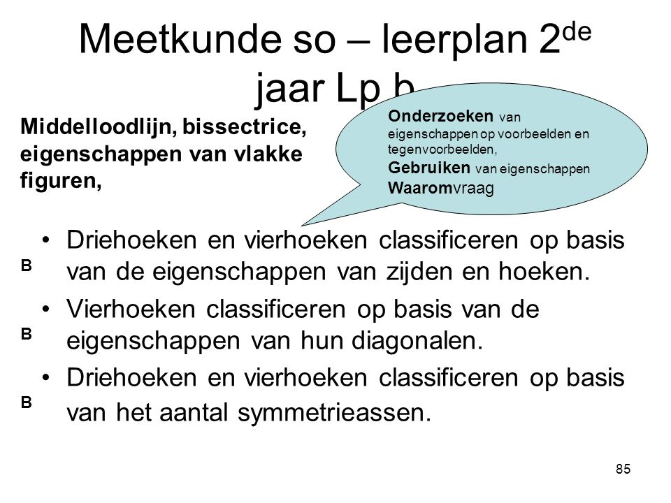 Meetkunde so – leerplan 2de jaar Lp b