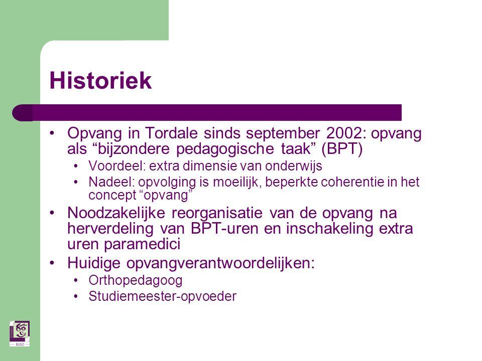 Historiek Opvang in Tordale sinds september 2002: opvang als bijzondere pedagogische taak (BPT) Voordeel: extra dimensie van onderwijs.