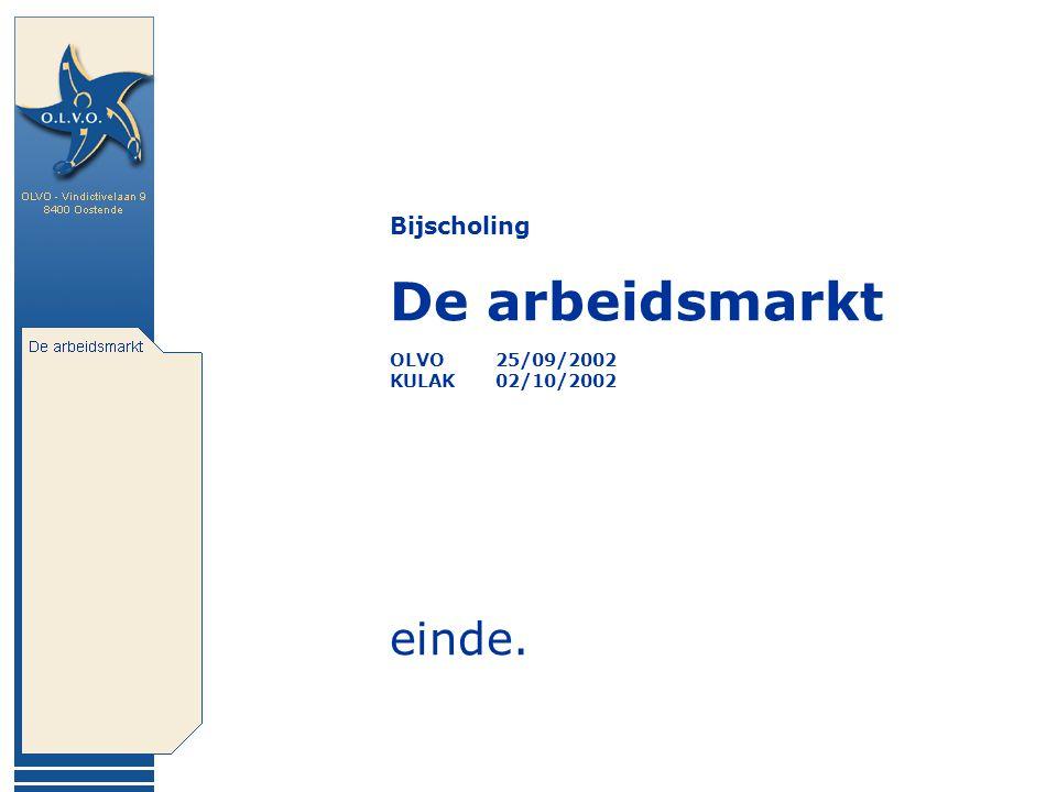Bijscholing De arbeidsmarkt OLVO 25/09/2002 KULAK 02/10/2002 einde.