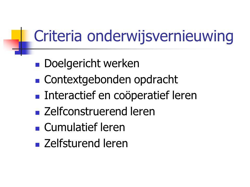 Criteria onderwijsvernieuwing
