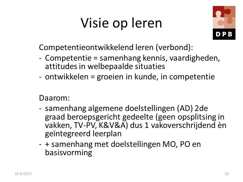 Visie op leren Competentieontwikkelend leren (verbond):
