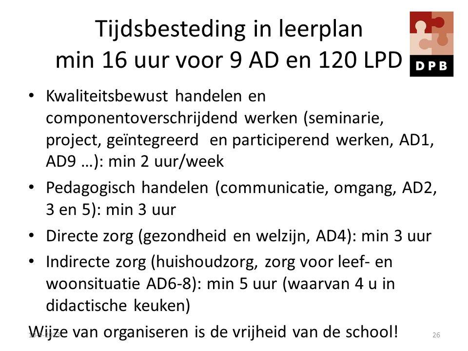 Tijdsbesteding in leerplan min 16 uur voor 9 AD en 120 LPD