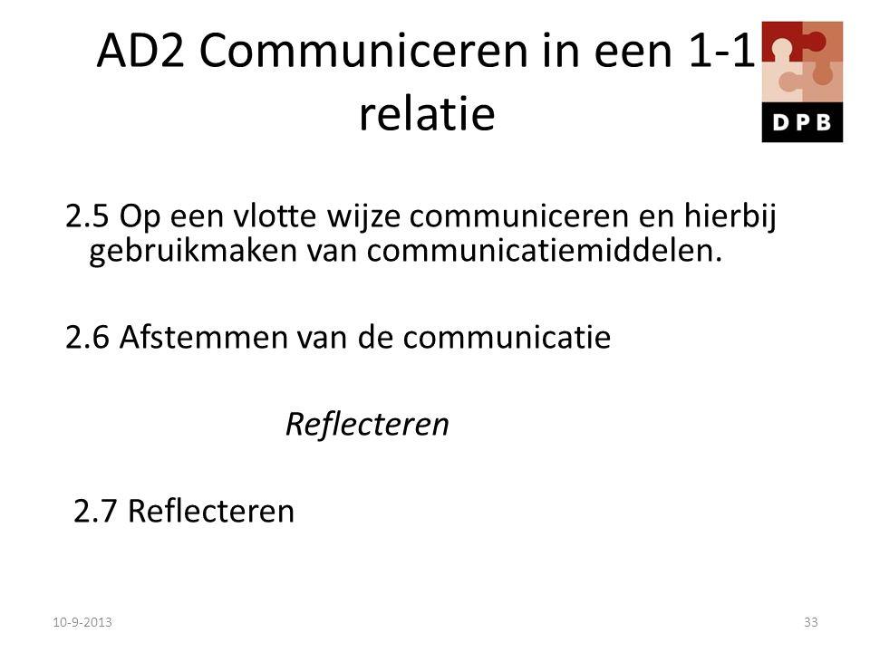 AD2 Communiceren in een 1-1 relatie