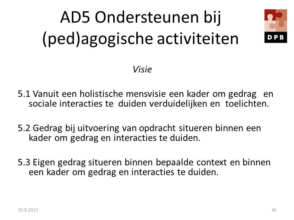 AD5 Ondersteunen bij (ped)agogische activiteiten