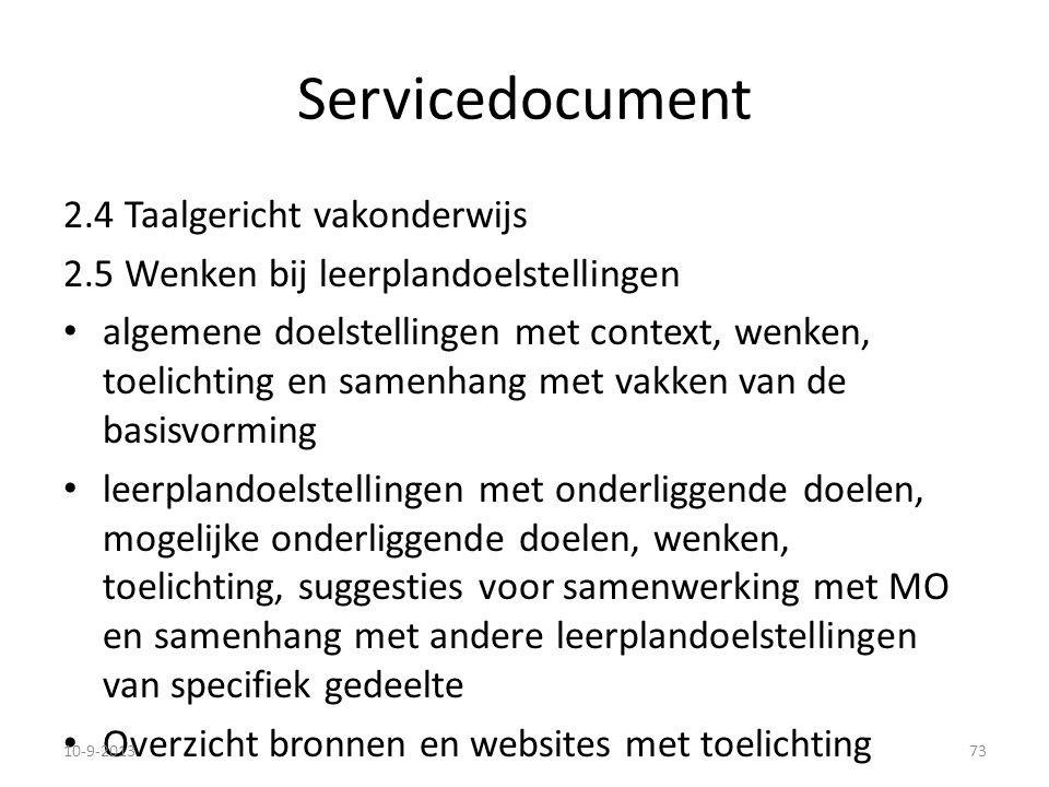 Servicedocument 2.4 Taalgericht vakonderwijs