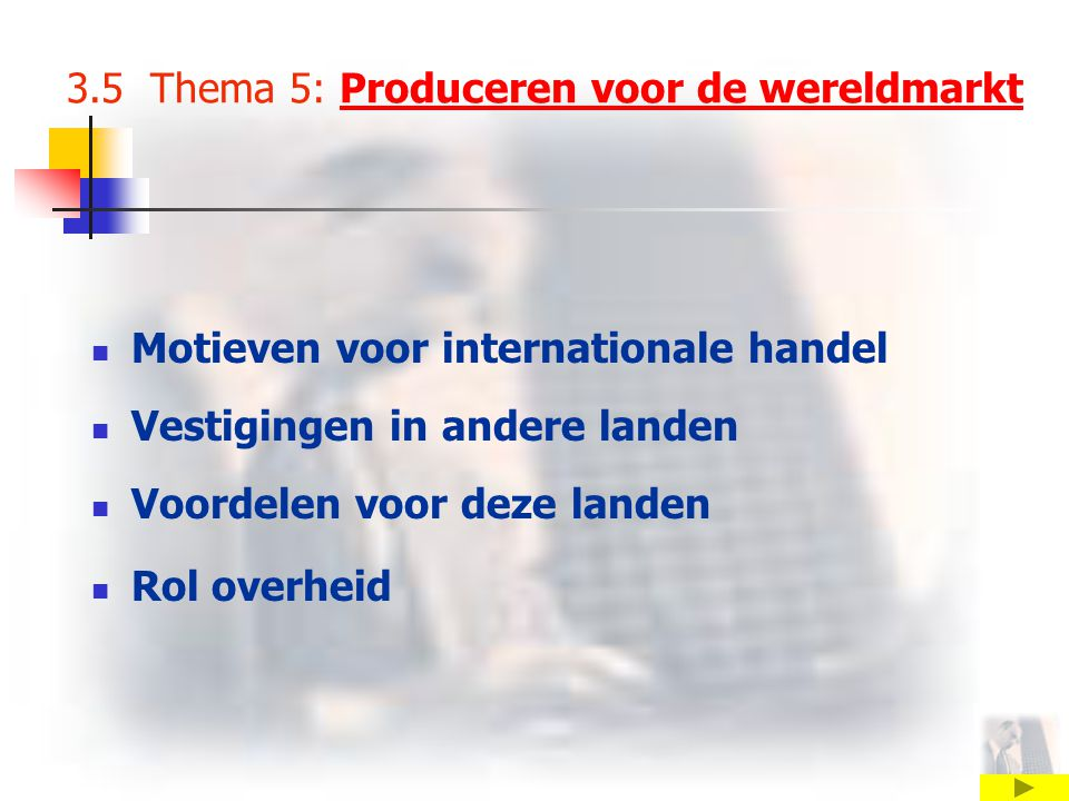 3.5 Thema 5: Produceren voor de wereldmarkt