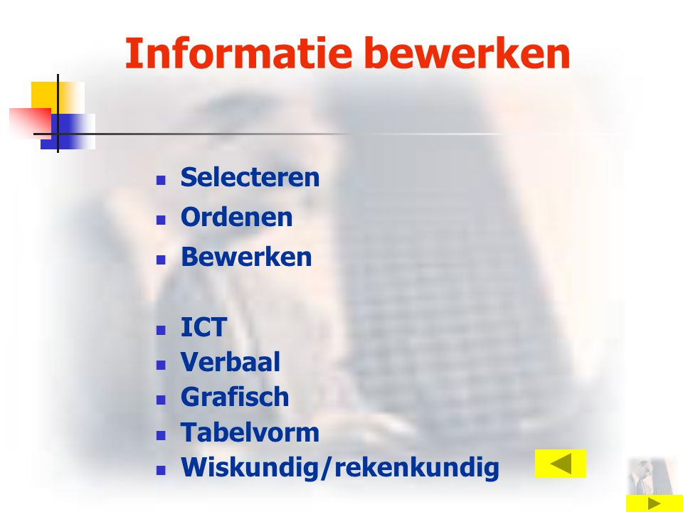 Informatie bewerken Selecteren Ordenen Bewerken ICT Verbaal Grafisch