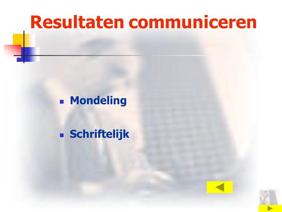 Resultaten communiceren