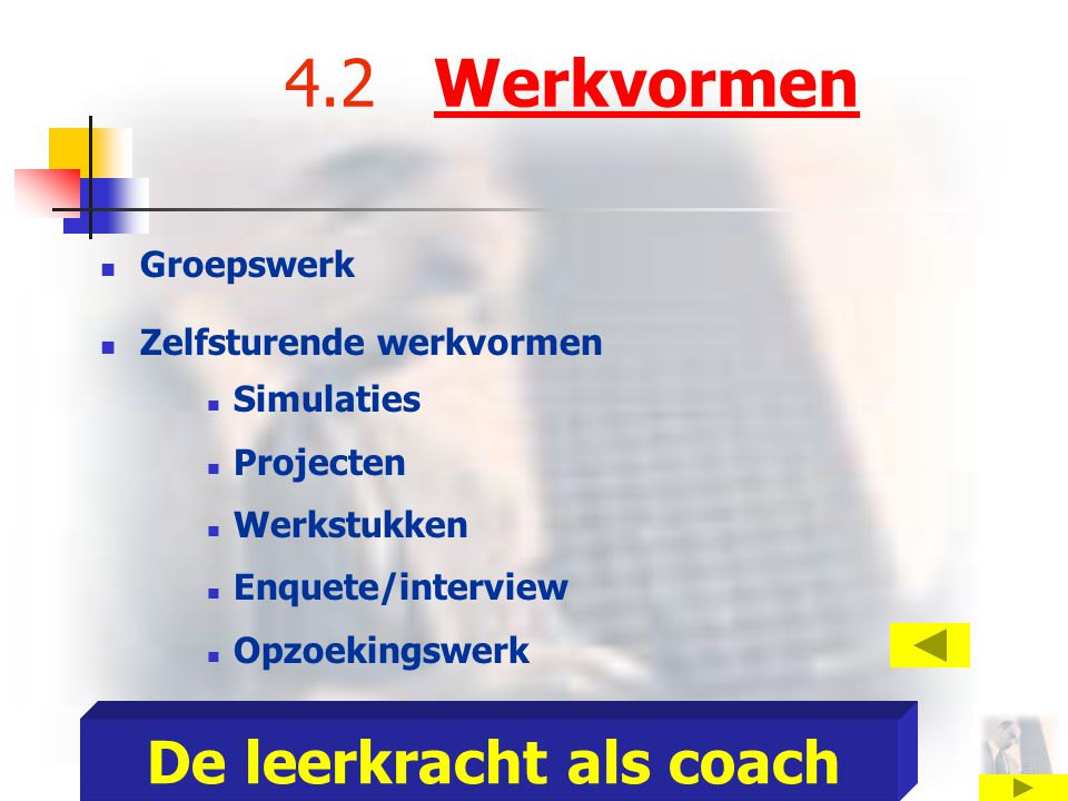 4.2 Werkvormen Groepswerk Zelfsturende werkvormen Simulaties Projecten