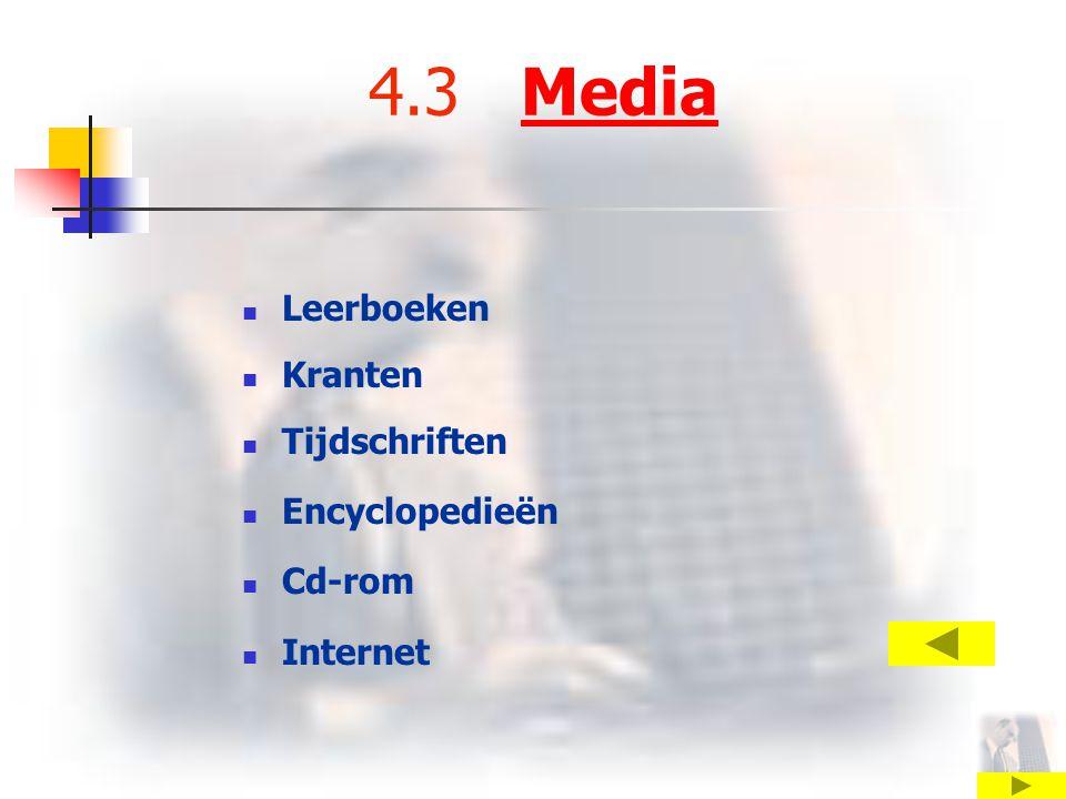 4.3 Media Leerboeken Kranten Tijdschriften Encyclopedieën Cd-rom