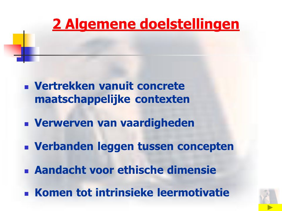 2 Algemene doelstellingen