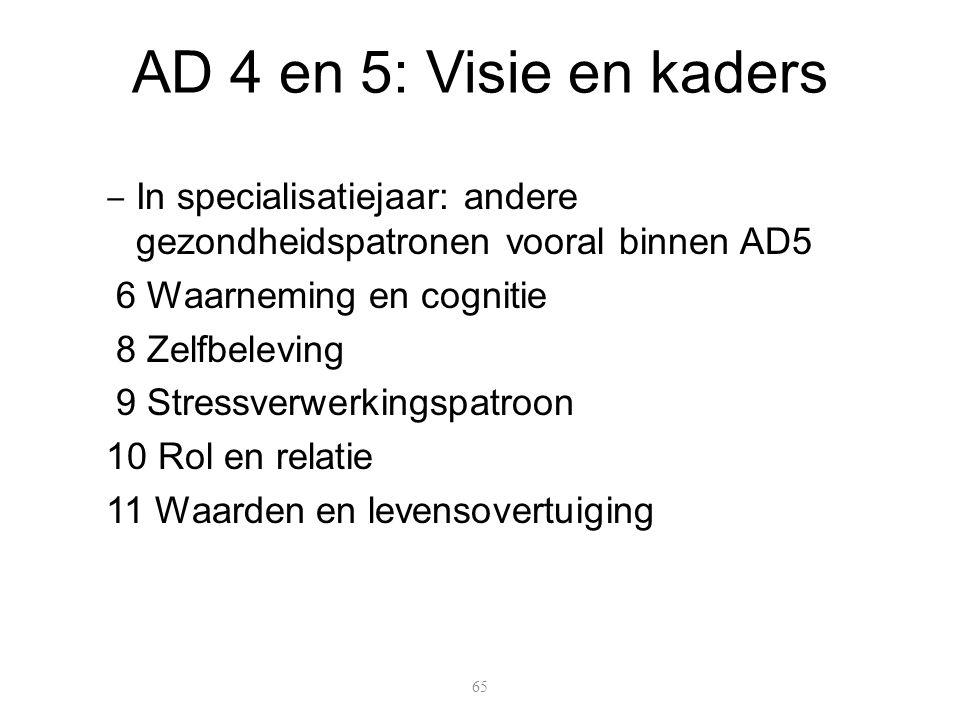 AD 4 en 5: Visie en kaders In specialisatiejaar: andere gezondheidspatronen vooral binnen AD5. 6 Waarneming en cognitie.