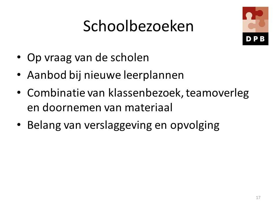Schoolbezoeken Op vraag van de scholen Aanbod bij nieuwe leerplannen