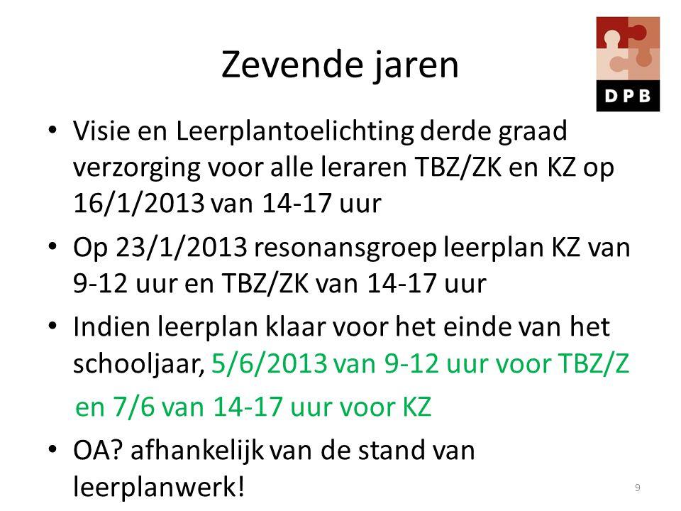 Zevende jaren Visie en Leerplantoelichting derde graad verzorging voor alle leraren TBZ/ZK en KZ op 16/1/2013 van 14-17 uur.