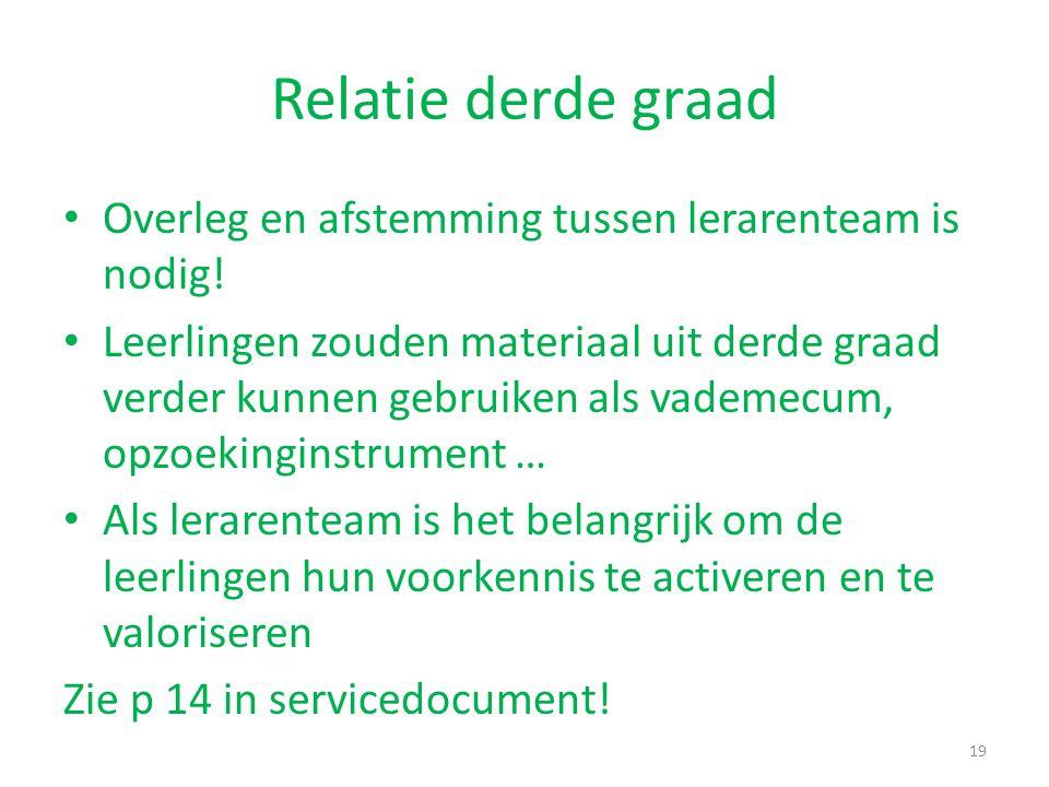 Relatie derde graad Overleg en afstemming tussen lerarenteam is nodig!