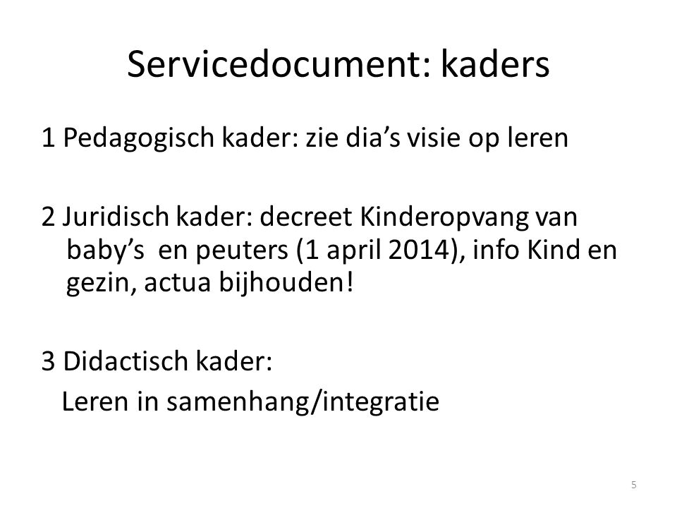 Servicedocument: kaders
