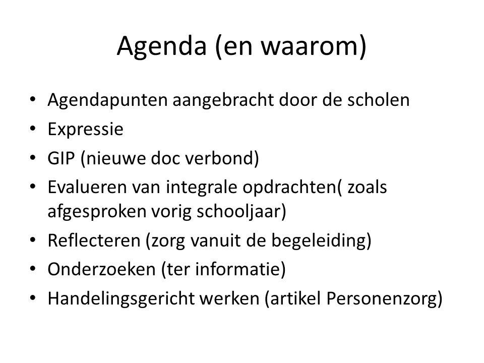 Agenda (en waarom) Agendapunten aangebracht door de scholen Expressie
