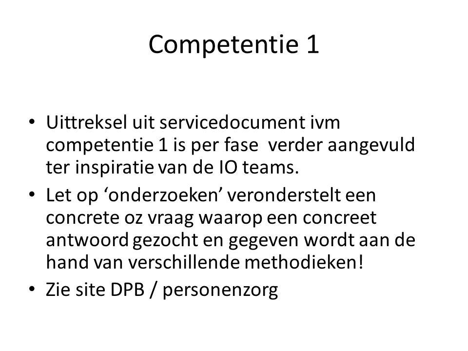 Competentie 1 Uittreksel uit servicedocument ivm competentie 1 is per fase verder aangevuld ter inspiratie van de IO teams.