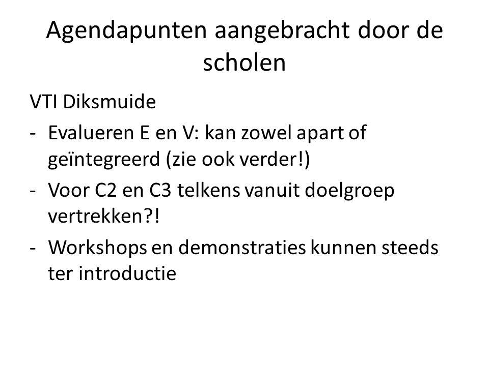 Agendapunten aangebracht door de scholen
