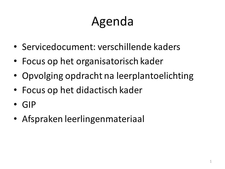 Agenda Servicedocument: verschillende kaders