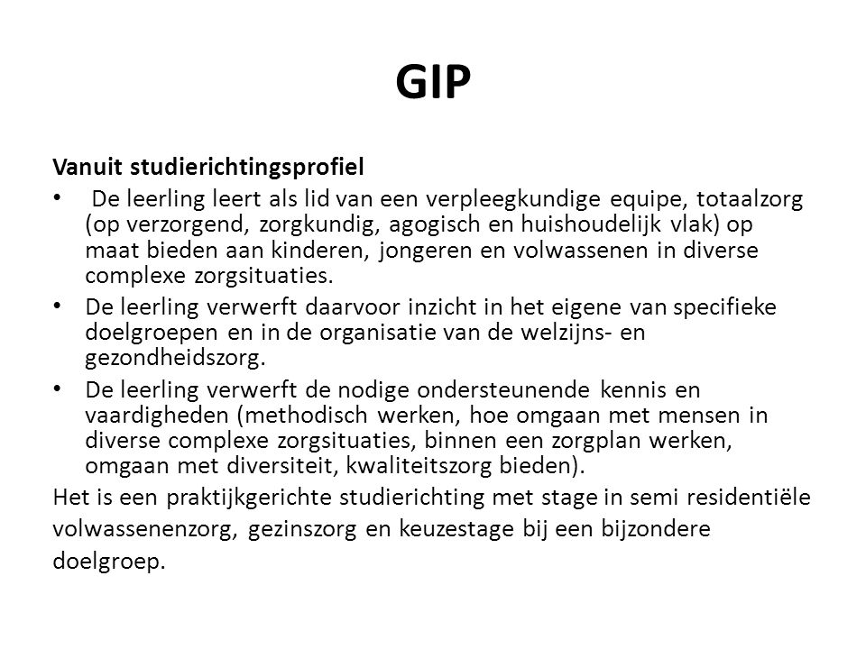 GIP Vanuit studierichtingsprofiel