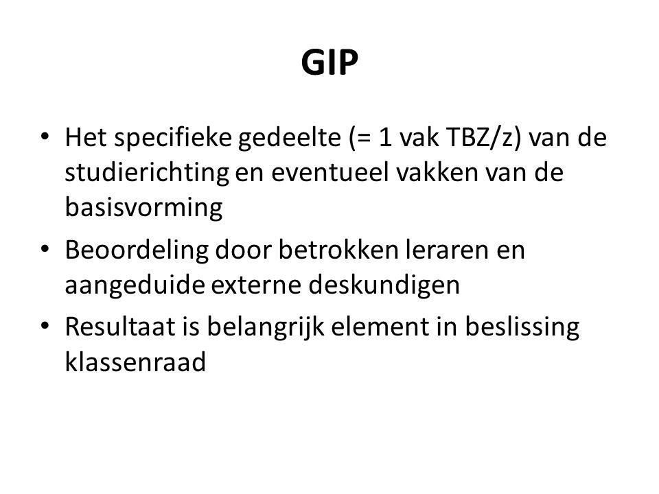 GIP Het specifieke gedeelte (= 1 vak TBZ/z) van de studierichting en eventueel vakken van de basisvorming.