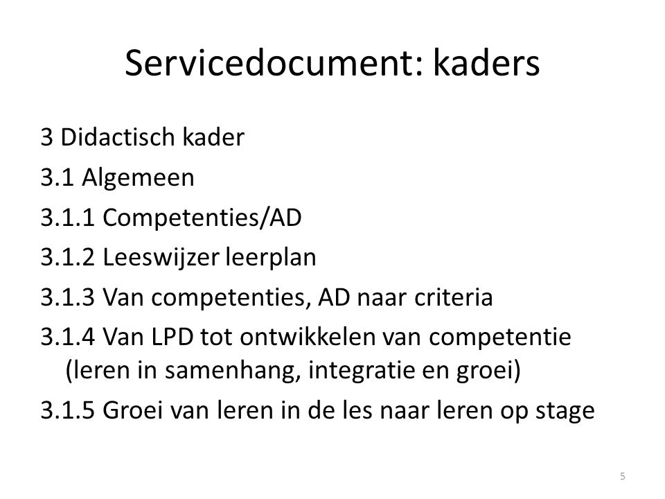 Servicedocument: kaders