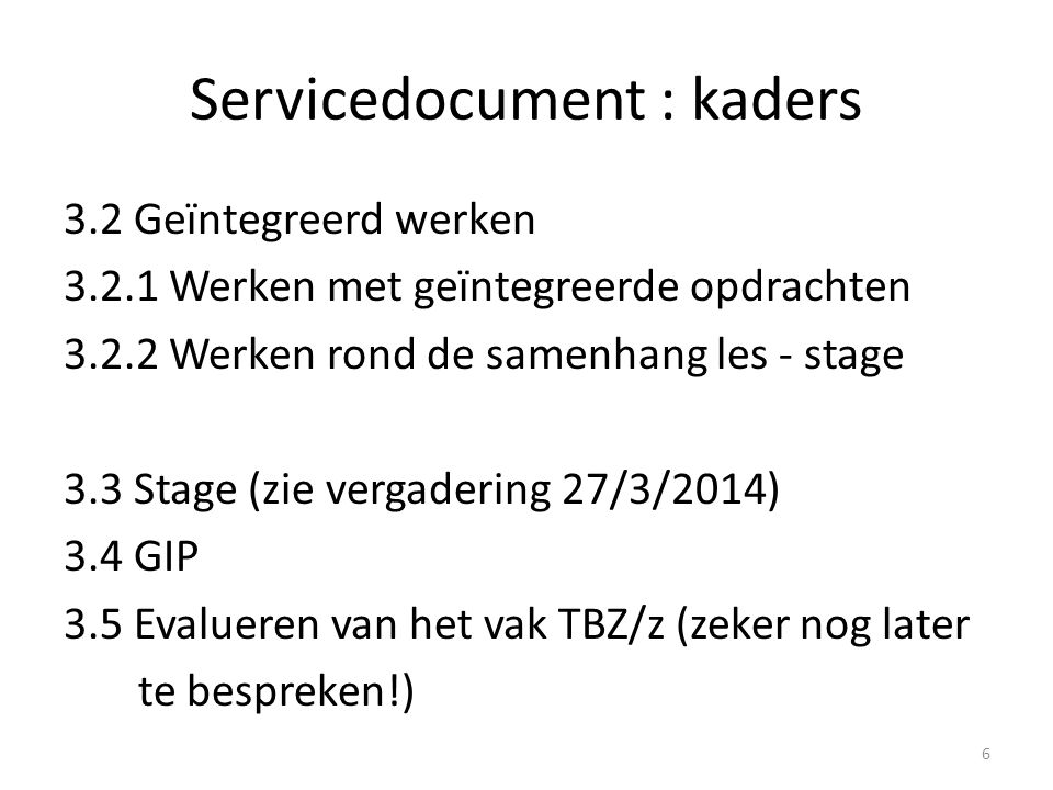 Servicedocument : kaders