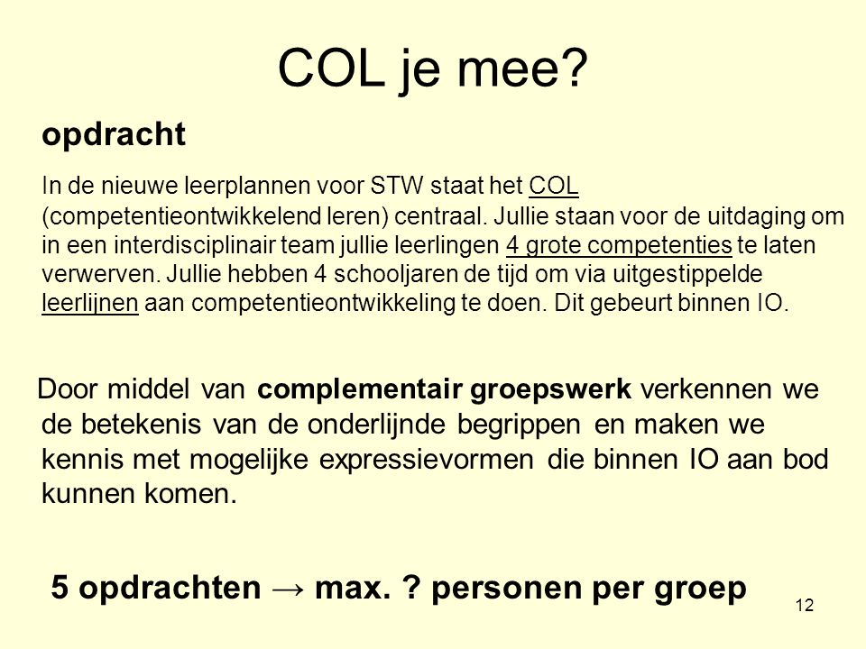 COL je mee opdracht.