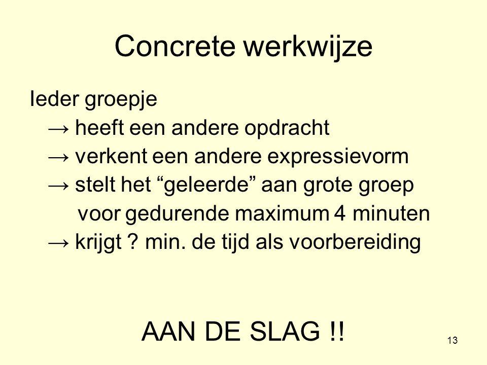 Concrete werkwijze AAN DE SLAG !! Ieder groepje